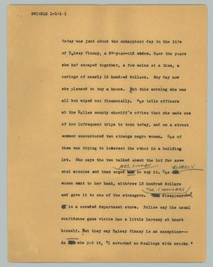 Primary view of object titled '[News Script: Swindle]'.