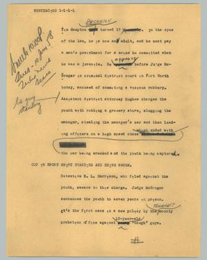 Primary view of object titled '[News Script: Sentencing ]'.