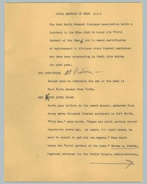 Primary view of object titled '[News Script: Civil Servant of The Year]'.