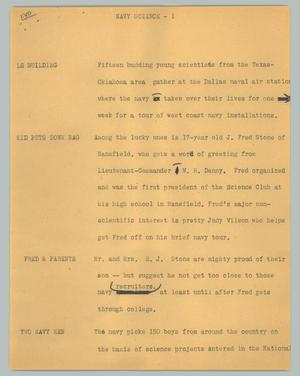 Primary view of object titled '[News Script: Navy science]'.