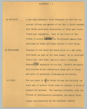 Primary view of object titled '[News Script: Warehouse]'.