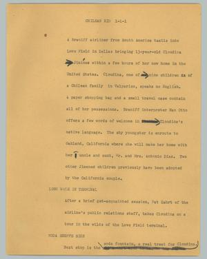 Primary view of object titled '[News Script: Chilean kid]'.