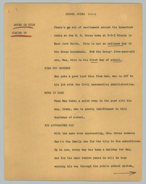 Primary view of object titled '[News Script: School opens]'.