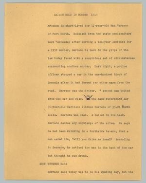 Primary view of object titled '[News Script: Ex-con held in murder]'.