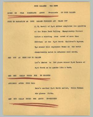 Primary view of object titled '[News Script: Duck callers]'.