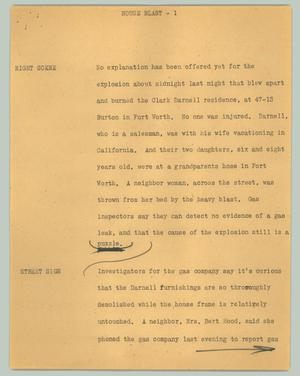 Primary view of object titled '[News Script: House blast]'.
