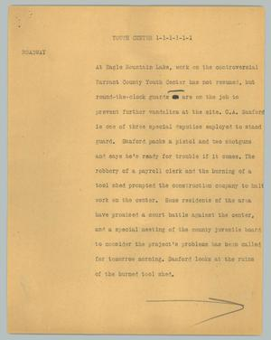 Primary view of object titled '[News Script: Youth Center]'.