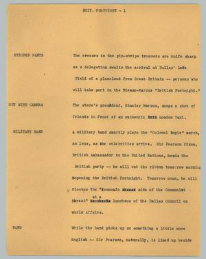 Primary view of object titled '[News Script: Brit. fortnight]'.
