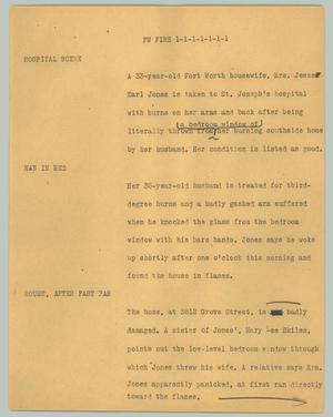 Primary view of object titled '[News Script: FW Fire]'.