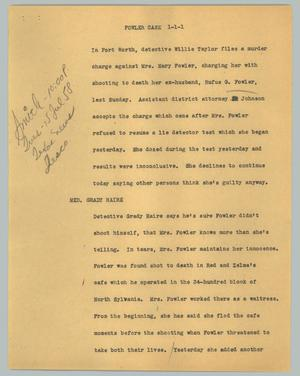 Primary view of object titled '[News Script: Fowler case]'.