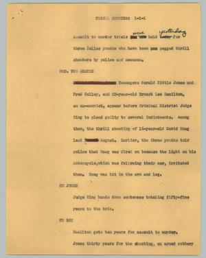 Primary view of object titled '[News Script: Thrill shooters]'.