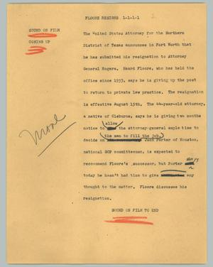Primary view of object titled '[News Script: Floore resigns]'.