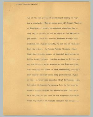 Primary view of object titled '[News Script: Ezzard Charles]'.