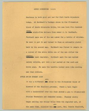 Primary view of object titled '[News Script: Armed robberies]'.