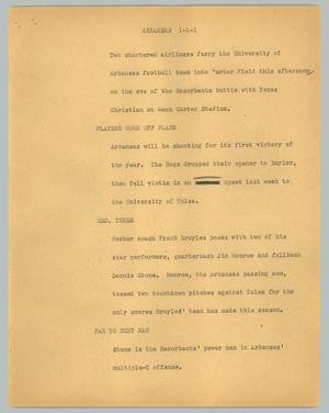 Primary view of object titled '[News Script: Arkansas]'.