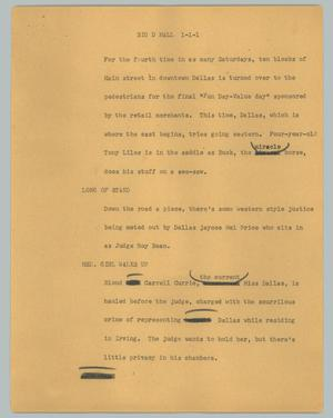 Primary view of object titled '[News Script: Big D Mall]'.