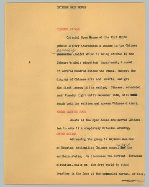 Primary view of object titled '[News Script: Chinese open house]'.