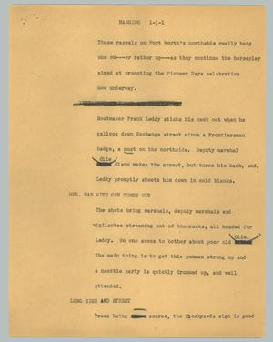 Primary view of object titled '[News Script: Hanging]'.