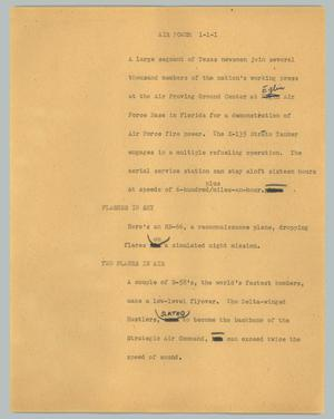 Primary view of object titled '[News Script: Air power]'.
