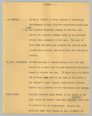 Primary view of object titled '[News Script: Parnell]'.