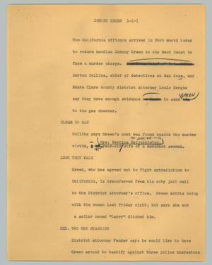 Primary view of object titled '[News Script: Johnny Green]'.