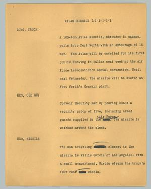Primary view of object titled '[News Script: Atlas missile]'.