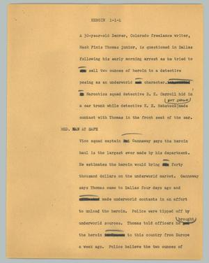 Primary view of object titled '[News Script: Heroin]'.