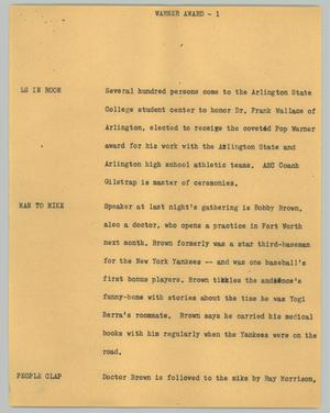 Primary view of object titled '[News Script: Warner Award]'.
