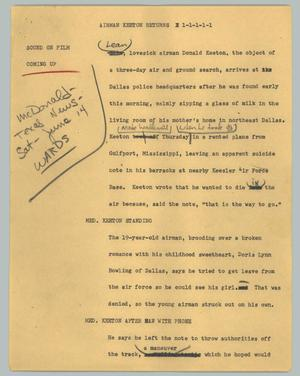 Primary view of object titled '[News Script: Airman Keeton returns]'.