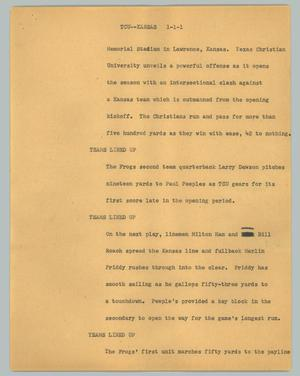 Primary view of object titled '[News Script: TCU--Kansas]'.
