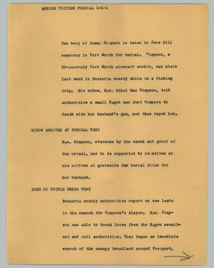 Primary view of object titled '[News Script: Murder victims funeral]'.