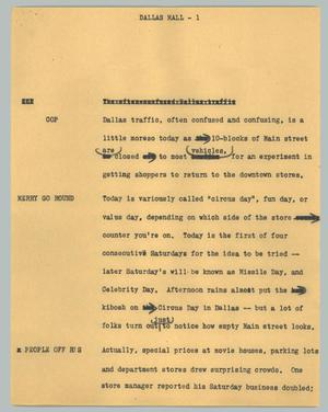 Primary view of object titled '[News Script: Dallas mall]'.