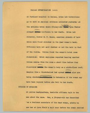 Primary view of object titled '[News Script: Dallas Investigation]'.