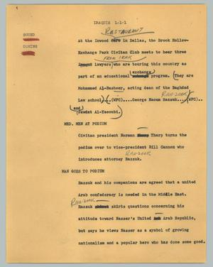 Primary view of object titled '[News Script: Iraquis]'.