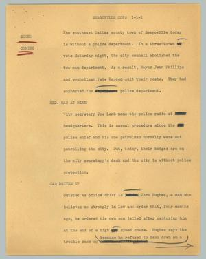 Primary view of object titled '[News Script: Seagoville cops]'.