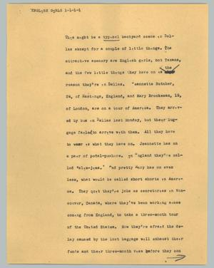 Primary view of object titled '[News Script: English girls]'.