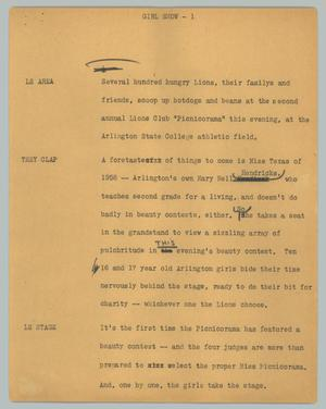 Primary view of object titled '[News Script: Girl show]'.