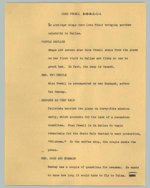 Primary view of object titled '[News Script: Jane Powell]'.