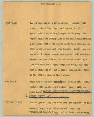 Primary view of object titled '[News Script: Boy burglars]'.