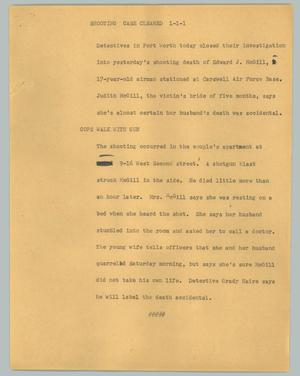 Primary view of object titled '[News Script: Shooting case cleared]'.