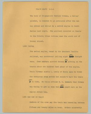 Primary view of object titled '[News Script: Train death]'.