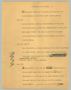 Primary view of object titled '[News Script: University Park awards]'.
