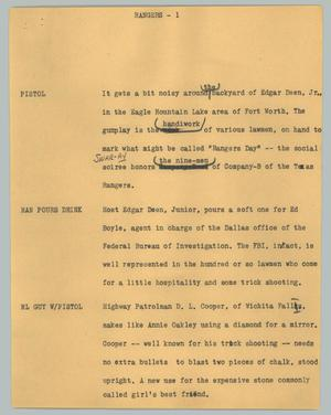 Primary view of object titled '[News Script: Rangers]'.