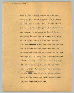 Primary view of object titled '[News Script: Street car]'.