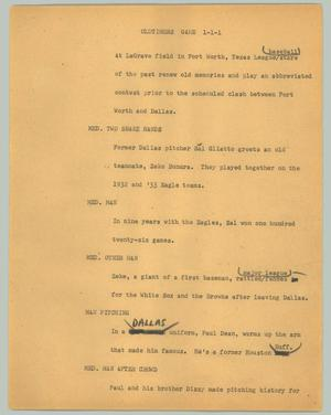 Primary view of object titled '[News Script: Oldtimers game]'.