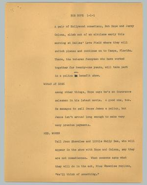 Primary view of object titled '[News Script: Bob Hope]'.