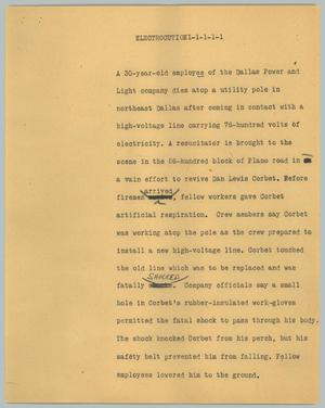 Primary view of object titled '[News Script: Electrocution]'.