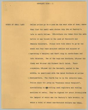 Primary view of object titled '[News Script: Burglary ring]'.