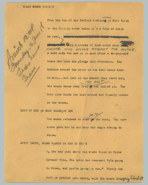 Primary view of object titled '[News Script: Woman jumps]'.