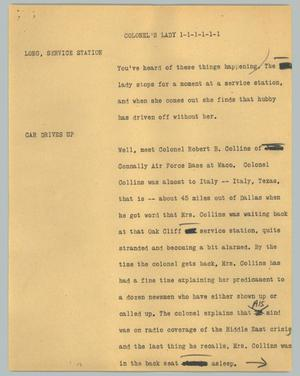 Primary view of object titled '[News Script: Colonel's lady]'.